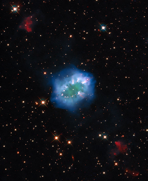 This Hubble image shows the Necklace Nebula, a planetary nebula some 15,000 light-years away in the constellation of Sagitta. Image credit: NASA / ESA / Hubble / K. Noll.