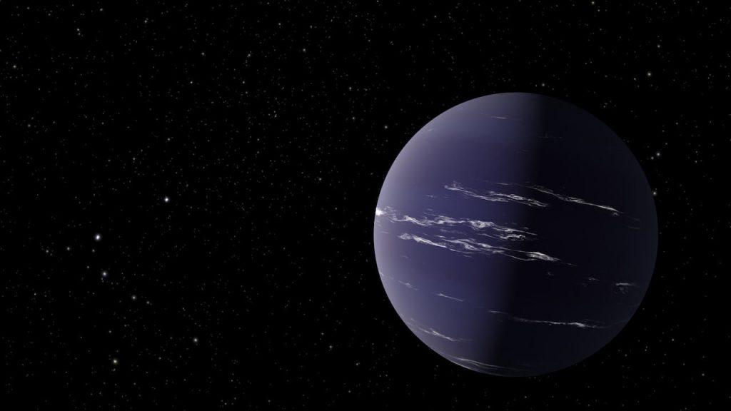 Un planeta parecido a Neptuno con una atmósfera espesa y posiblemente una cola.