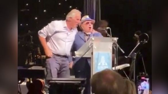 Democratic Unionist Party MP Ian Paisley and singer Van Morrison together on stage at the Europa Hotel in Belfast on Friday evening