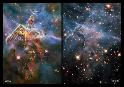Imagen de dos paneles con densas nubes en el espacio a la izquierda y las mismas nubes más frágiles con más estrellas a la derecha.