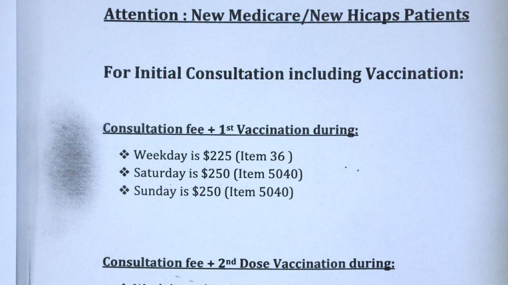 Blessed Health Care en Campsie cobra $ 250 por una vacuna Covid