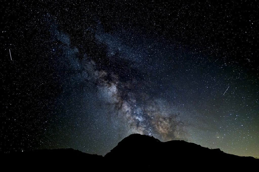 Perseids and the Milky Way above Spain