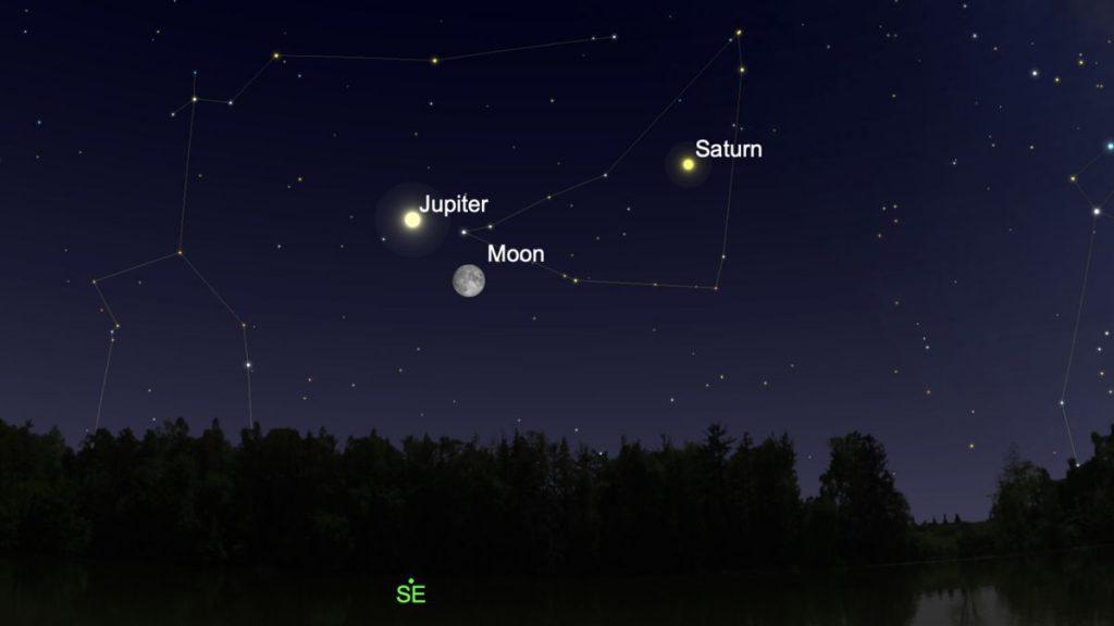 Observa cómo Júpiter y la Luna se acercan en el cielo del atardecer esta noche.