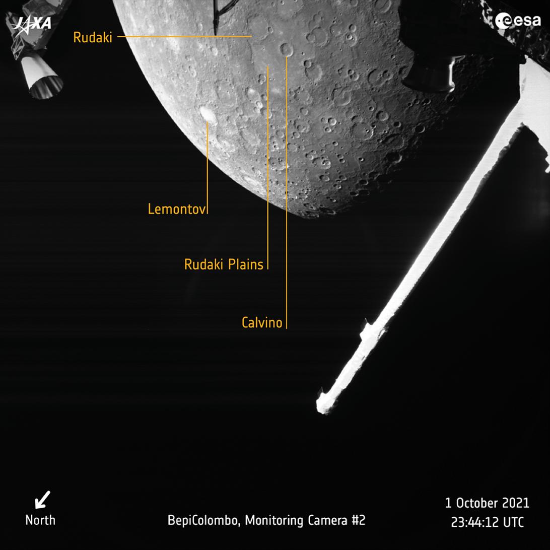 BepiColombo 10.1.2021 Imagen anotada de mercurio