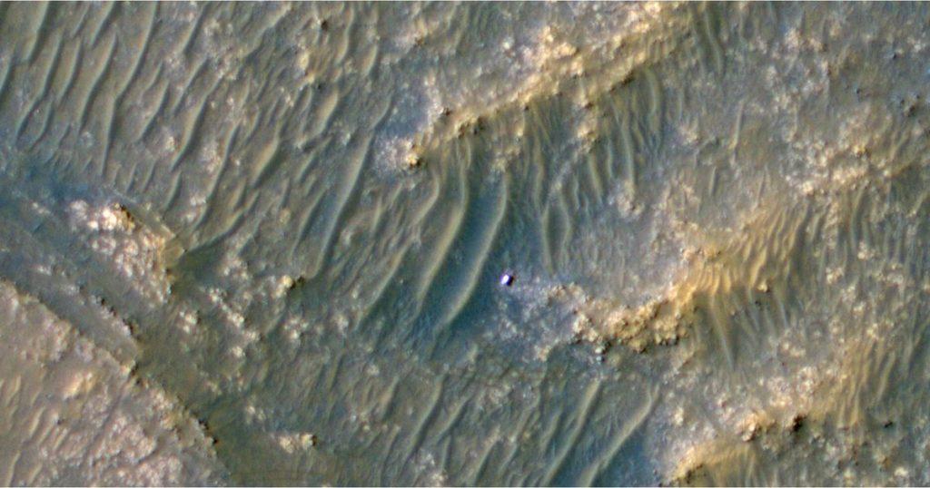 La nave espacial de la NASA vio a la nave espacial perseverancia en Marte como un punto brillante